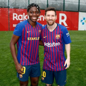 Asisat Oshoala Pictured With Lionel Messi