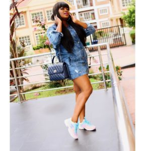 Funke Akindele Melts Hearts In Mini Denim Dress