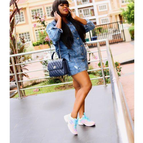 Funke Akindele Melts Hearts In Mini Denim Dress