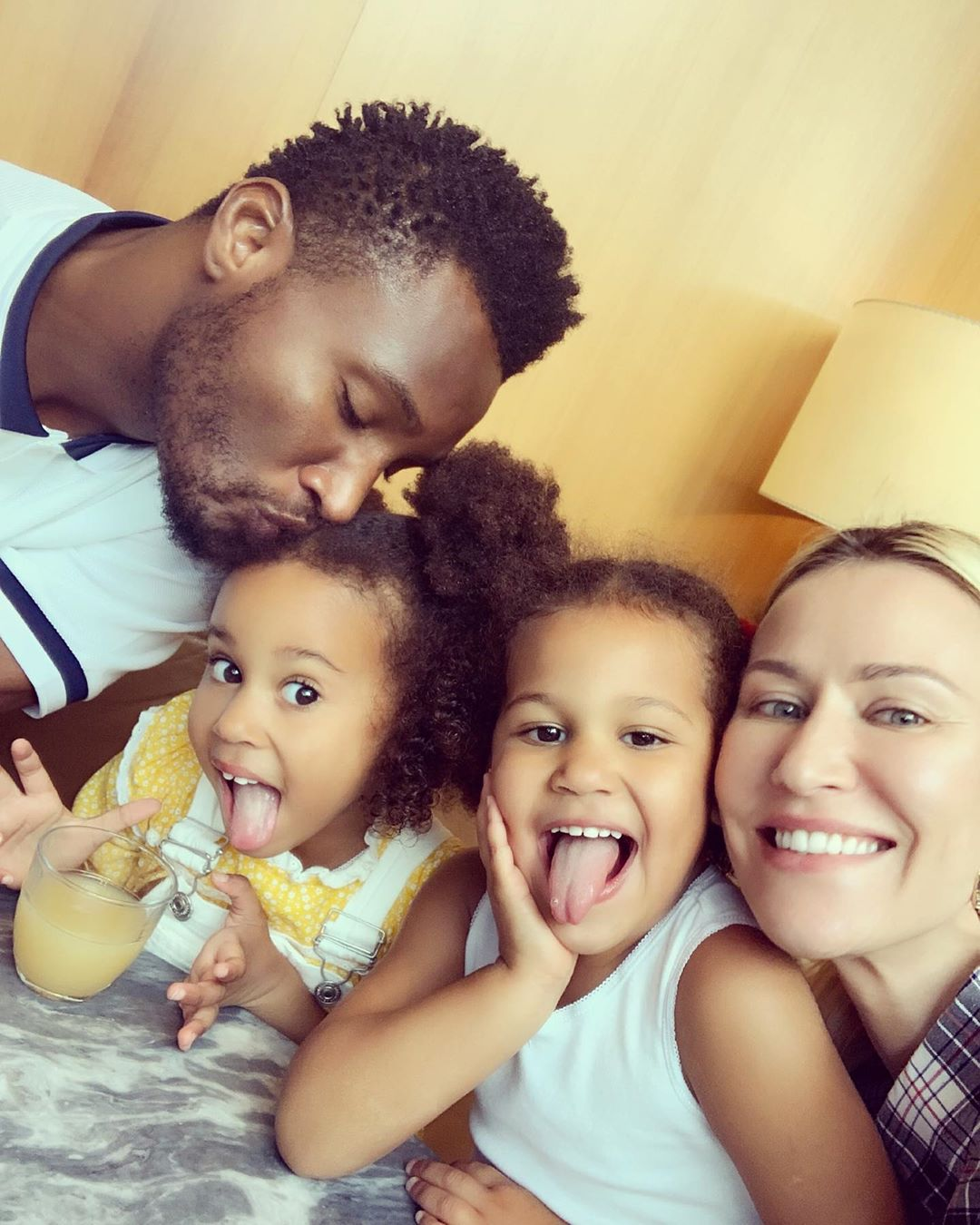Beautiful Photos Of Mikel Obi, His Russian Partner And Their Twin Daughters