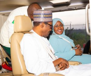 Cute Photo Of President Buhari And His Wife As They Arrive From Saudi