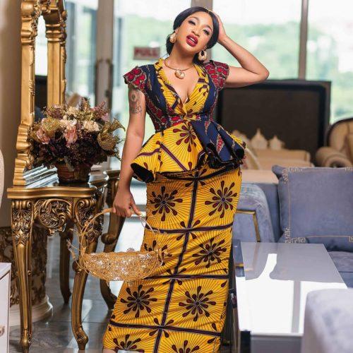 Ankara Style: Tonto Dikeh Serves Major Fashion Inspo In Cleavage Baring Ankara Dress
