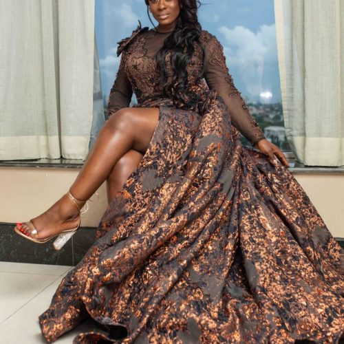 Uriel Oputa Flaunts Her Enviable Physique In N600,000 Luxury Gown From PM Luxury