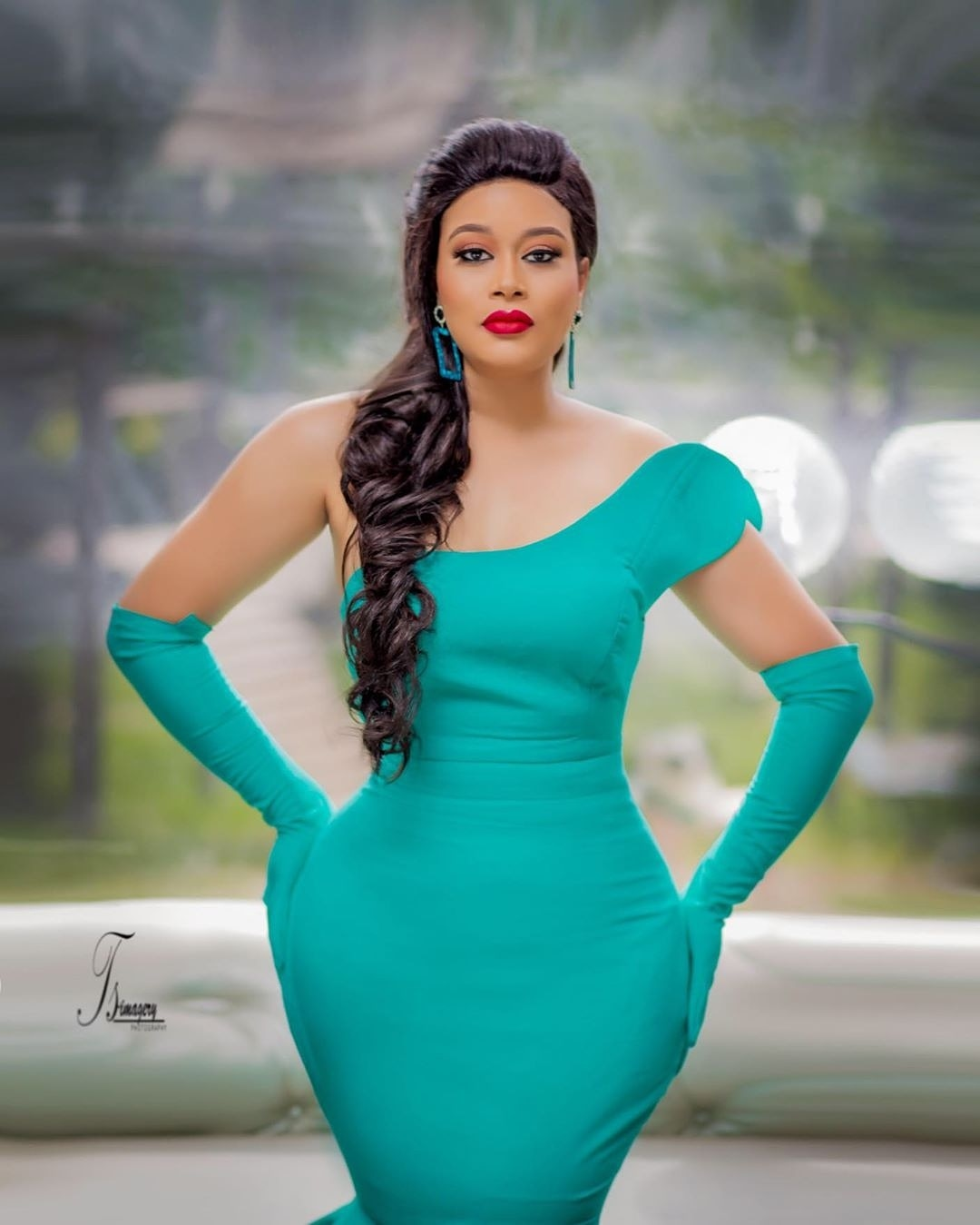 Adunni Ade Stuns In Turquoise Blue Mono Strap Dress As She Celebrates Birthday