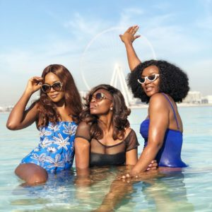 Omoni Oboli, Ufuoma McDermott And Chioma Akpotha Spotted In Hot Bikinis At Jumeirah Beach, Dubai