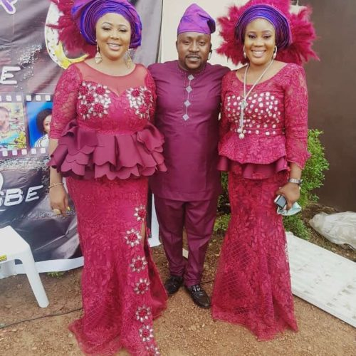 Actor Segun Ogungbe And His Two Wives At His Younger Brother's Wedding