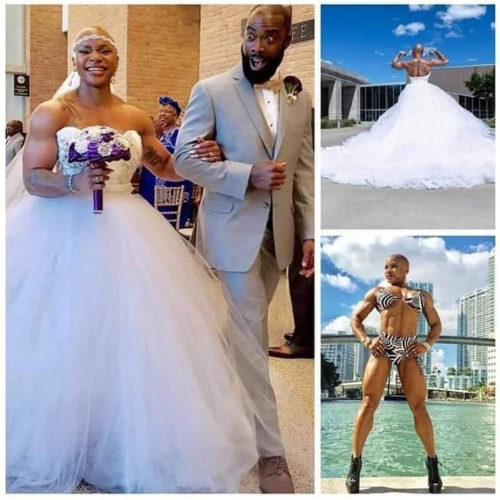 Must See! Trending Wedding Photos Of A Female Bodybuilder With Prominent Muscles
