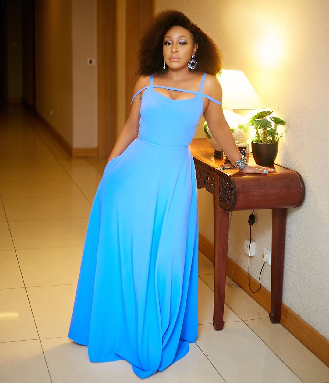 Rita Dominic Is All Shades Of Gorgeous In Fluorescent Blue Maxi Gown
