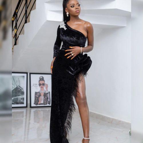 BB Naija Diane Melts Hearts In Black Mono-strap Velvet Dress