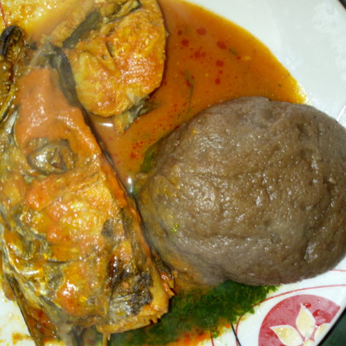 How To Make Amala With Fresh Fish Soup And Ewedu