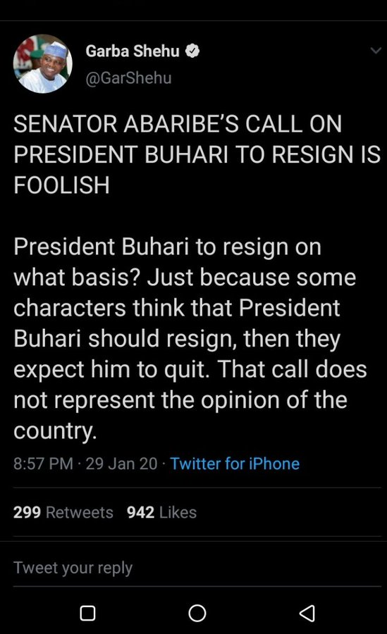 Abaribe Buhari's resignation