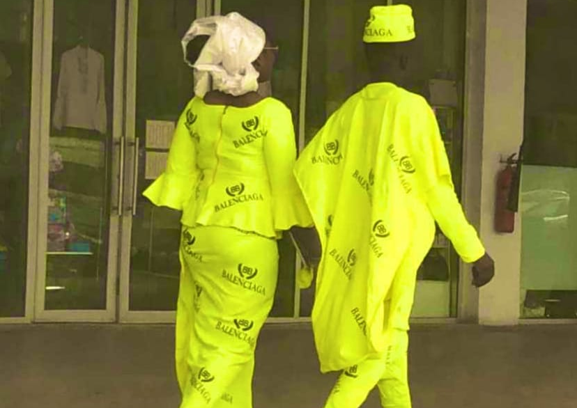 Yea Or Nay? Check Out This Trending Video Of Nigerian Couple Rocking Balenciaga Native Attire
