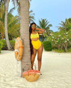 Sun, Sea & Swimwear! Davido's Baby Mama, Sophia Momodu Flaunts Enviable Physique In Yellow Swimsuit