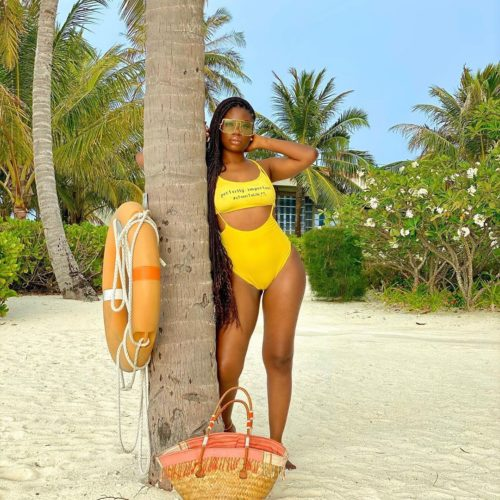 Sun, Sea & Swimwear! Davido's Baby Mama, Sophia Momodu Flaunts Enviable Physique In Yellow Swimsuit