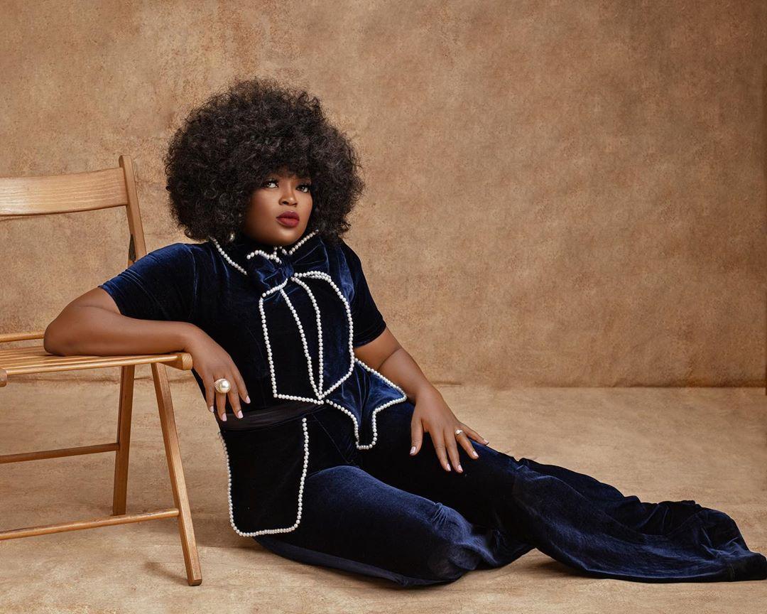 Funke Akindele Is A Total Stunner In XBL Navy Blue Velvet Jumpsuit