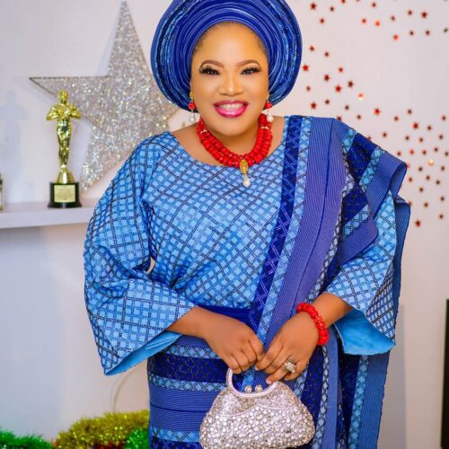 Toyin Abraham Is A Beauty In Blue Aso Oke