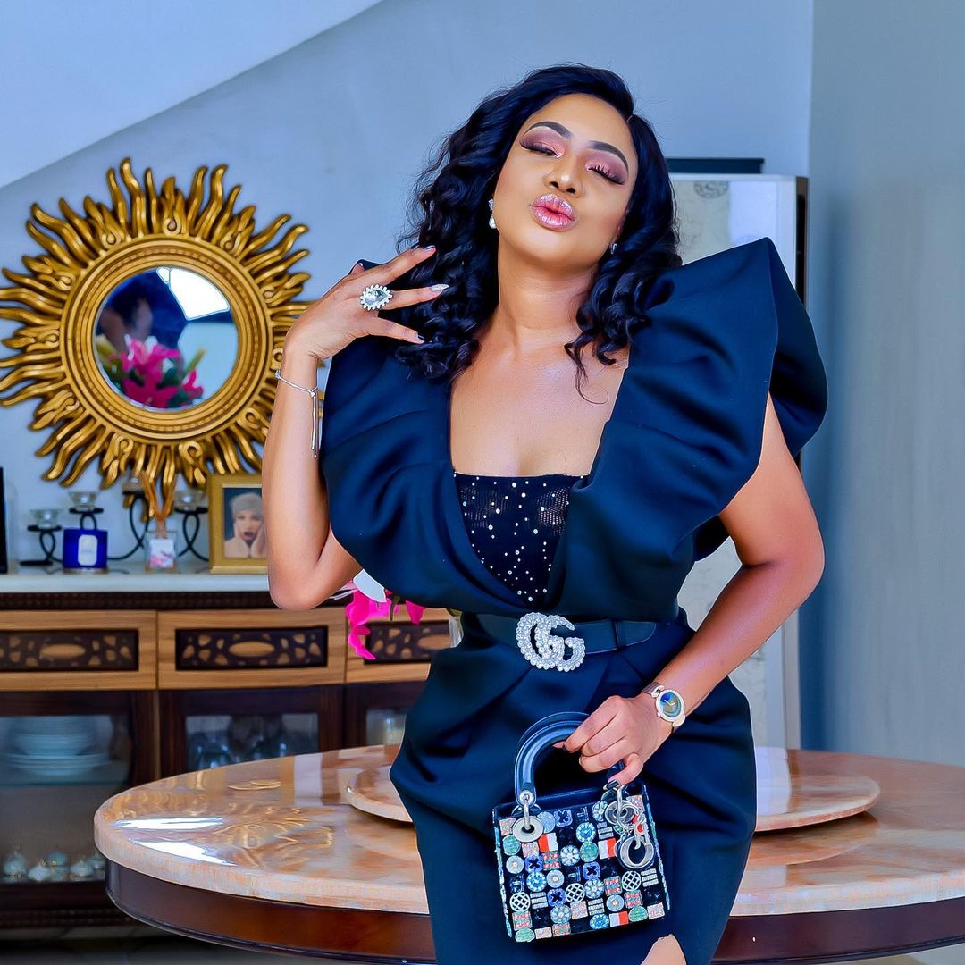 Chika Ike Oozes Gorgeousness In Navy Blue Maxi Dress
