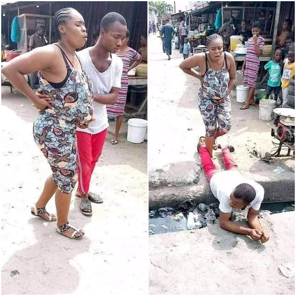 Love Or Madness? Man Lies On A Gutter For His Pregnant Wife To Pass