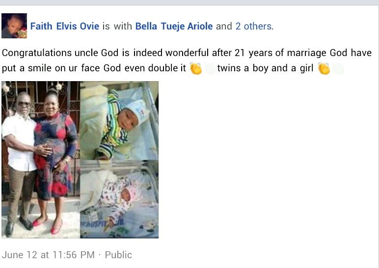 Nigerian couple twins